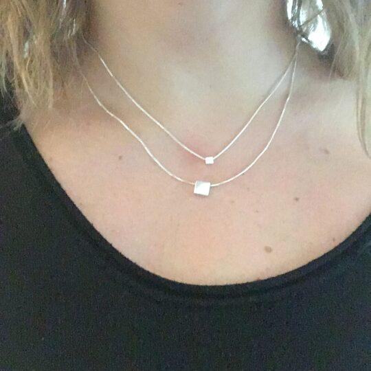 Doppelte quadratische Halskette Silber