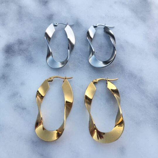 STAINLESS STEEL WAVES HOOPS GOLD SILVER
