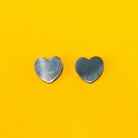 STUDS HEART SILVER STAINLESS STEEL