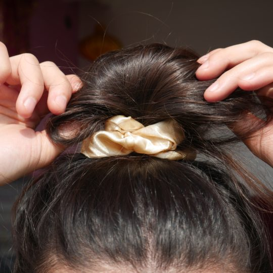 SCRUNCHIE SILK BEIGE IN HAAR I