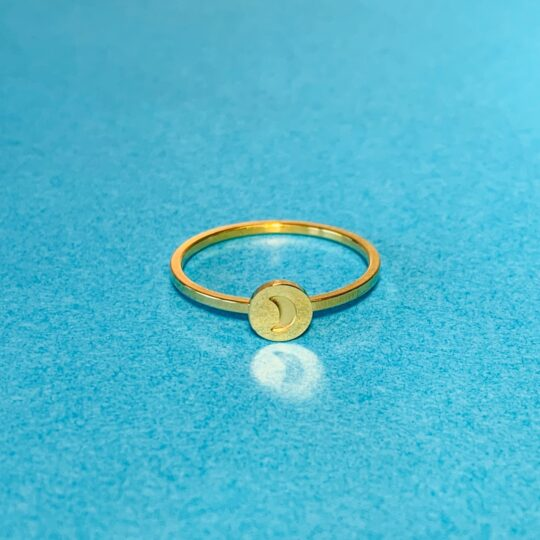 MOON GOLD RING STAINLESS STEEL