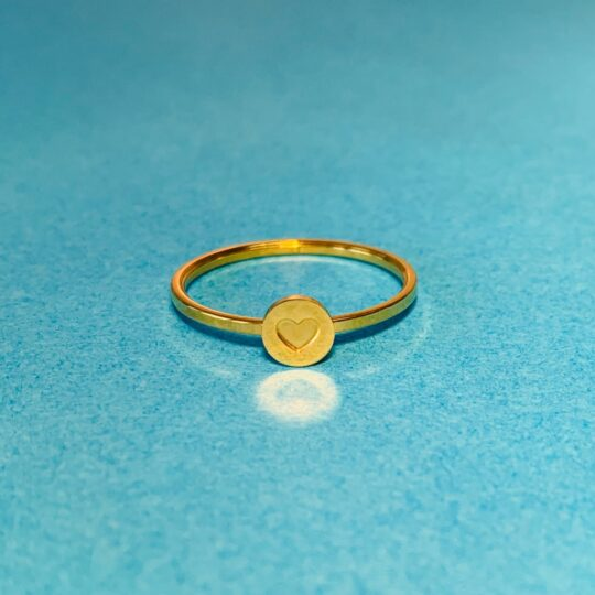 RING HEART GOLD STAINLESS STEEL