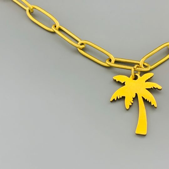 SCHAKELKETTING MET PALMBOOM GOUD CLOSE