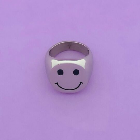SMILEY ZEGELRING ZILVER