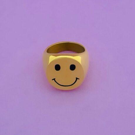 SMILEY ZEGELRING GOUD