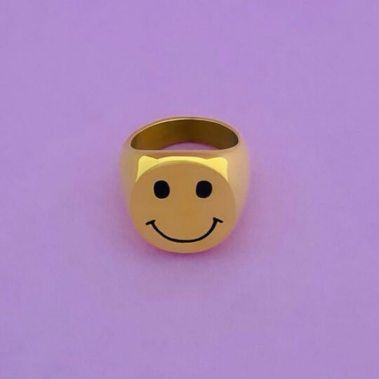 SMILEY ZEGELRING GOUD