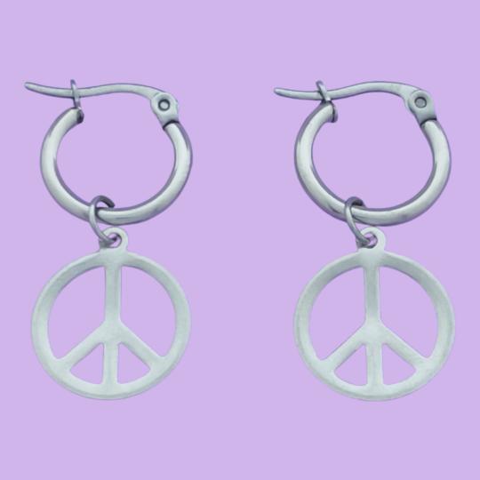 PEACE OORRINGEN ZILVER