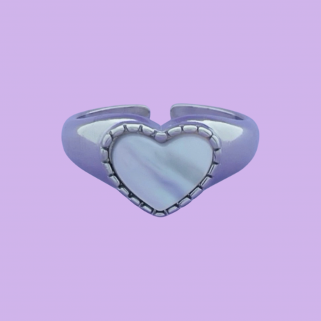 HEART SHELL RING ZILVER
