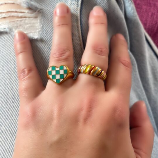 CHECKERBOARD CROISSANT RING